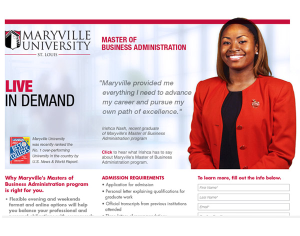 Maryville Univeristy Microsite