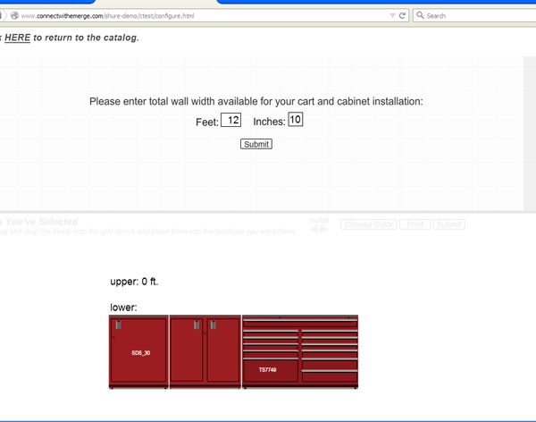 Shure Manufacturing configurator page 1